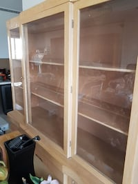 white wooden framed glass cabinet Edmonton