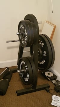 black and gray barbell and dumbbells ANNANDALE