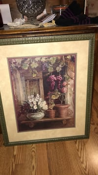 Brown wooden framed painting of flowers Green Lane, 18054