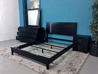 ***black wood 3pc queen bedroom set (free delivery)