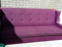 tufted purple suede sofa with two throw pillows Toronto, M9C 4J4