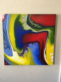 Blue, yellow, and red abstract painting 24x24 Las Vegas, 89139