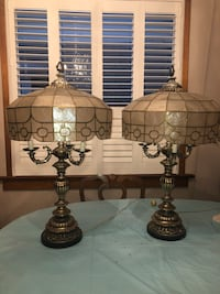 TWO VINTAGE 1964 Lamps with Capiz Shell Lampshades