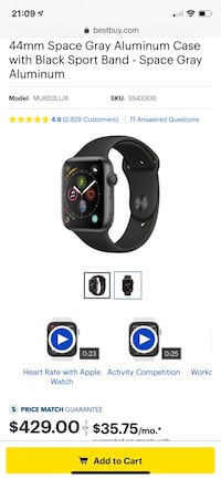 Apple Watch Series 4 44mm GPS only Space Gray Rockville, 20852