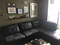 Black leather sectional sofa couch Toronto, M8Y