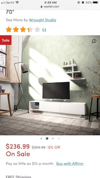 white and black wooden TV stand Bloomfield, 07003