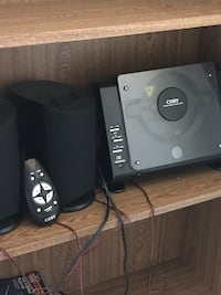 CD stereo with remote and speakers- Coby brand