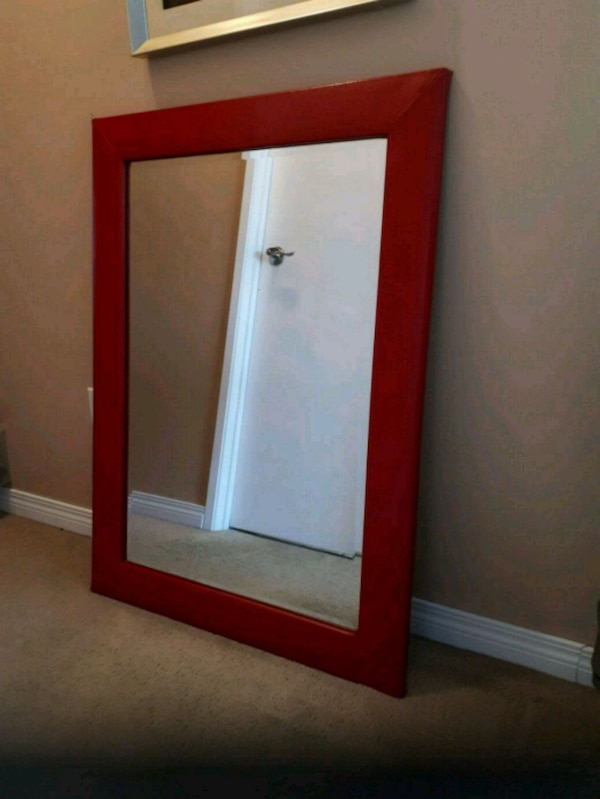 Red vinyl framed beveled heavy mirror