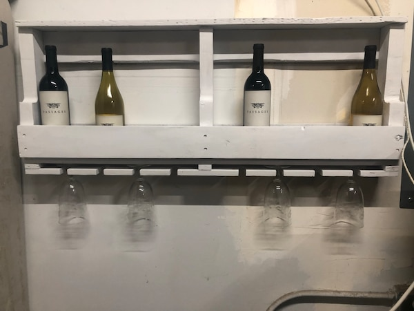 Used Pallet Wood Wine Rack With Glass Holder For Sale In Watsonville