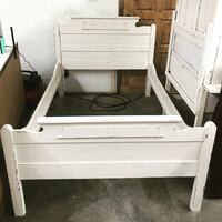 white wooden bed frame with white mattress Cerritos, 90703