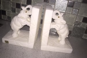 Marble Elephant Bookends