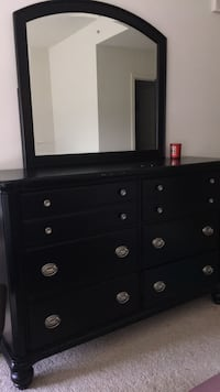Rooms Togo Black wooden dresser with mirror Reston, 20190