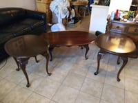3 matching brown tables 2 side tbles  1 coffee