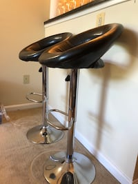 LIKE NEW!!! Two black leather bar stools