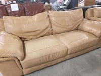 Tan sofa & Loveseat   Genuine leather Relatively decent condition