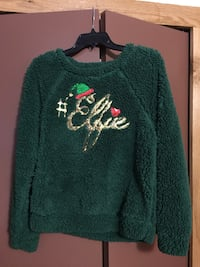 REDUCED!! Green and white elfie printed fluffy fleece Muncie, 47303