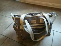 brown and white leather tote bag San Antonio