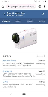 Sony x3000 waterproof action Cam  Vancouver, V5M 2H8