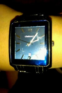 square black analog watch with black leather strap Phoenix, 85006