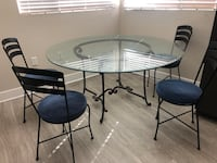 French iron glass dining table