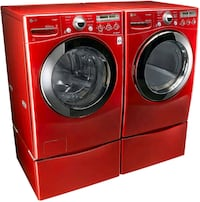 Two LG cherry red pedestals for washer and dryer Ellicott City, 21042