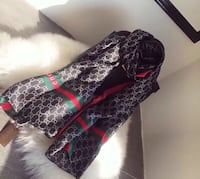 black, red, and green Gucci scarf