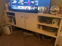 White solid wood tv stand