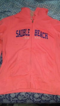 pink and black Hollister pullover hoodie