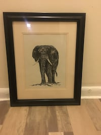 Signed Painting by C. Marsden-Huggins Black and White Elephant Largo, 20774