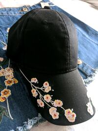 Black adjustable floral embroidered cap  Montréal, H8P 2X1