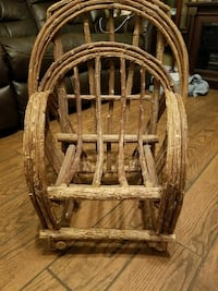 brown wooden frame with brown wooden chair