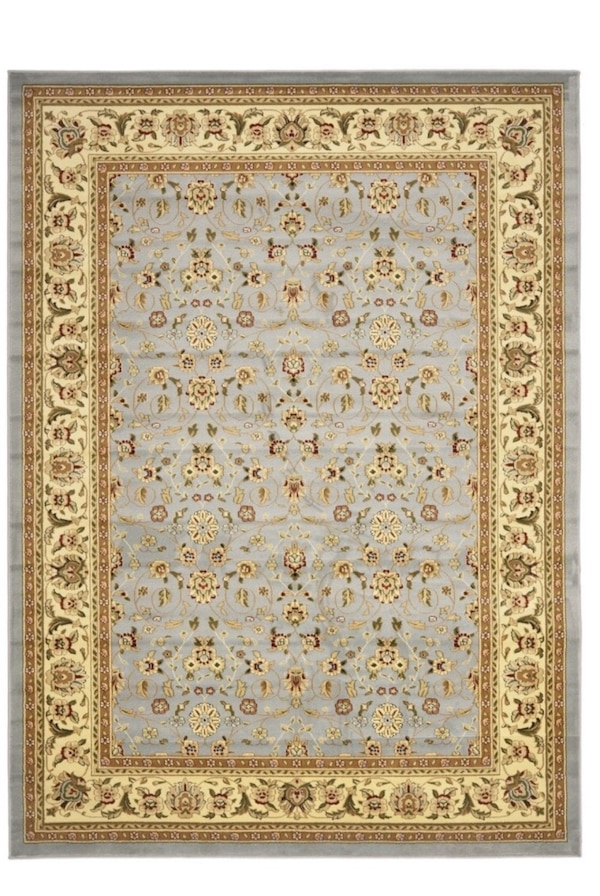 Traditional Oriental Light Blue/ Ivory Rug - 10' x 14'