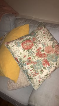 white, green, and red floral throw pillow Washington, 20009