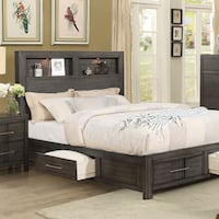 Gray Platform Bed Frame with 4 Drawers, EZ Payment Plans Avaialble Lemon Grove