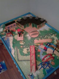 green and brown wooden train table Thomasville, 27360