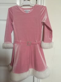 pink and white fur-lined long-sleeved dress