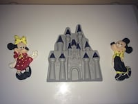Mickey and minnie mouse with castle wall ornament