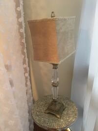 grey and clear glass table lamp with beige shade Reston, 20190