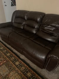 Real leather recliner sofa and loveseat