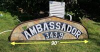 LARGE ANTIQUE STAINED GLASS TRANSOM W/ AMBASSADOR NAME & ST. NUMBER North Brunswick Township, NJ, USA