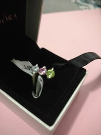 Silver ring. Three colored stones. Size 7