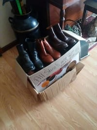 three pairs of leather boots