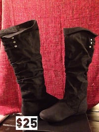Brand new black suede like boots. size 8.5