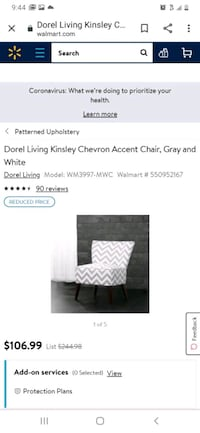 Chevron accent chair grey and white