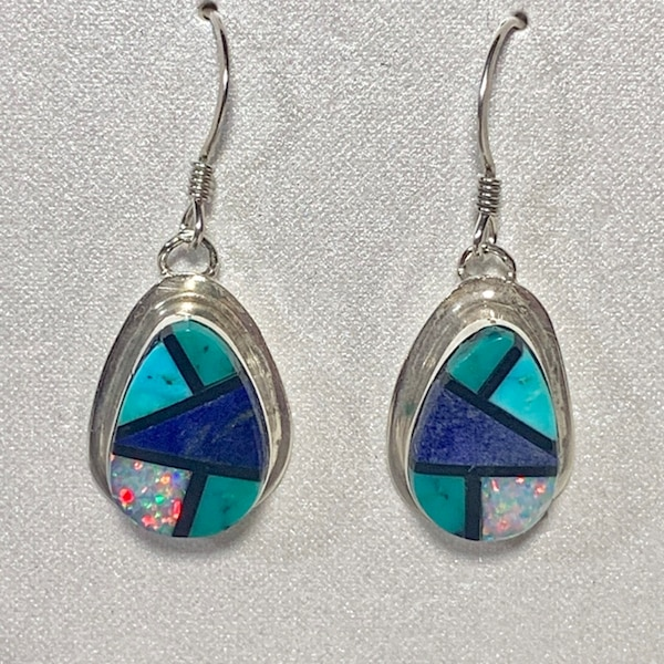 Genuine Navajo Sterling Silver Lapis Turquoise Opal Onyx Earnings 30365669-23bf-41f9-9bea-f781857aff4d