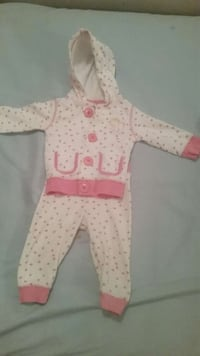 toddler's pink-white-and-gray button-up hoodie and pants
