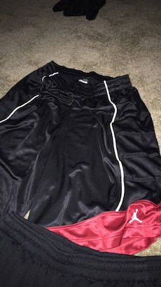 black and red Air Jordan basketball shorts