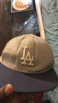 beige and gray Los Angeles fitted cap