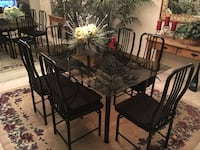 Rectangular black wooden table with four chairs dining set Los Angeles, 91352