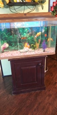brown wooden framed fish tank Greeley, 80631